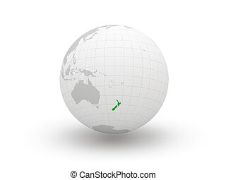 Globe. 3d. New Zealand. Elements of this image furnished by...