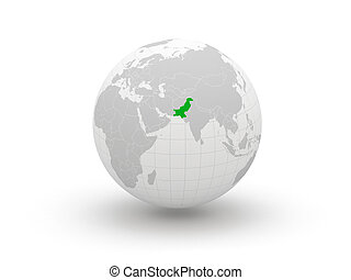Globe 3d Pakistan Elements of this image furnished by NASA...