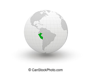 32 Globe. 3d. Peru. Elements of this image furnished by NASA