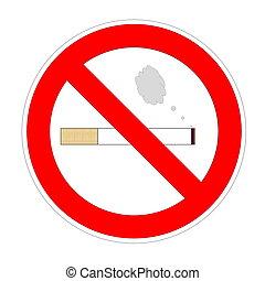 Non smoking area - Cigarette with smoke into forbidden sign...