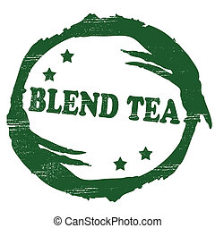 Blend tea - Stamp with text blend tea inside, vector...