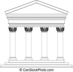 Corinthian temple on white background
