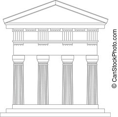 Doric temple on white background