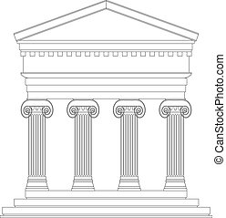 Ionic temple on white background