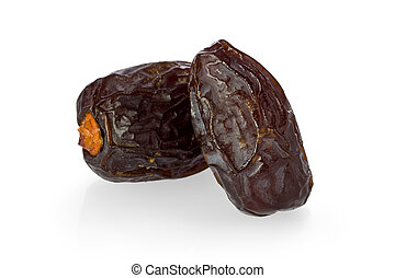 Dates - Two medjool dates against a white background
