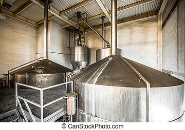 Brewing production - fermentation department, the interior...