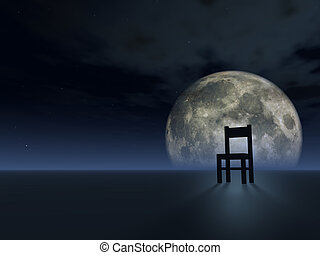 wait - lonely chair and full moon - 3d illustration