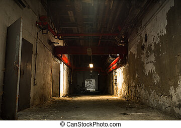 old industrial building, basement with little light - inside...