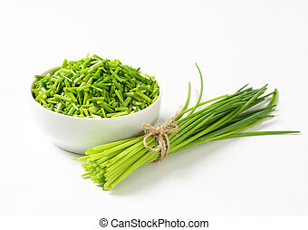 Fresh chives - Studio shot of fresh chives - bunch and...