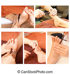Collection of reflexology foot massage, spa foot treatment...
