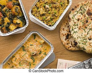 Chicken Korma, Sag Aloo, Mushroom Pilau And Naan Bread