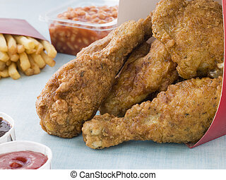 Southern Fried Chicken In A Box With Fries, Baked Beans,...