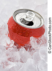 Red Can Of Fizzy Soft Drink Set In Ice With The Ring Pulled