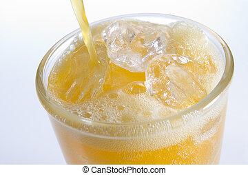 傾瀉,  orangeade, 冰, 玻璃