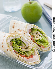 Chicken Salad Tortilla Wrap With A Green Apple And Water