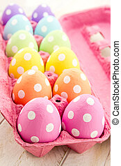 Easter Eggs and Baskets - Brightly colored polka dot Easter...