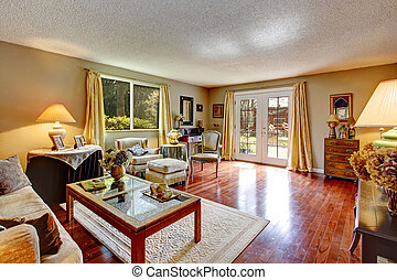 Old fashion antique living room - Big old living room with...