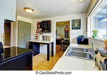 Old fashion small kitchen room - Old kitchen room with a...