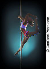Young graceful woman dancing on pole