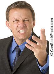 hombre de negocios, muy, enojado