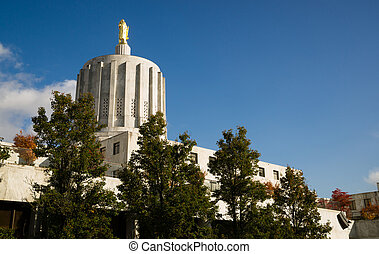Salem Oregon Government Capital Building Downtown - Daytime...