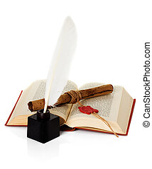 old book with inkwell, quill pen and scroll