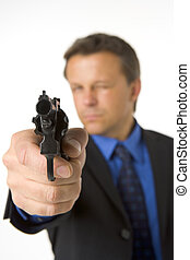 Businessman Pointing Hand Gun