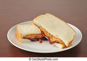 Peanut butter and jelly sandwich - A peanut butter and jelly...