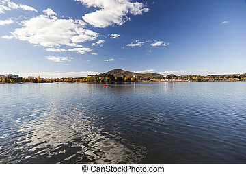 Burley Griffin Lake near National Gallery. Canberra....