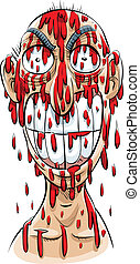 Bloody Man - An evil-looking cartoon man, drenched in blood...