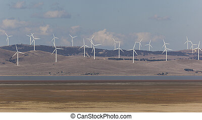 Capital wind farm. View from Federal highway lookout....