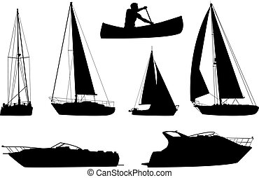 Boat Set - A set of silhouettes of a variety of boats.