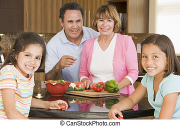 Family Preparing meal,mealtime Together