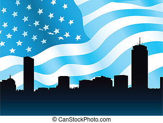 Boston Skyline - Skyline silhouette of the city of Boston,...