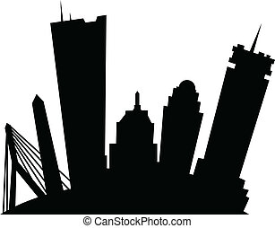 Cartoon Boston - Cartoon skyline silhouette of the city of...