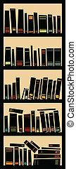 Full Bookcase - Cartoon silhouette of a full bookcase.