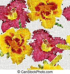 Grunge seamless floral mosaic pattern