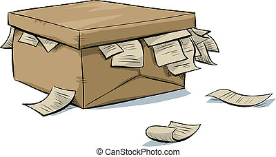 Document Box - A cartoon, cardboard box with documents...