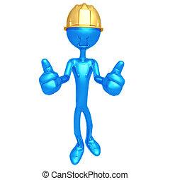 construção, trabalhador, dois, polegares, cima