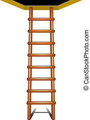 Wooden ladder leading up