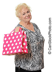 The elderly woman with a package