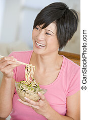 Women Eating meal,mealtime With Chopsticks