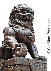 Chinese Imperial Lion Statue, Isolated on white background...