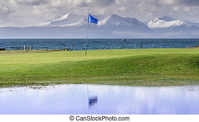 Doble olf flag - Golf flag in Portencross golf course in...