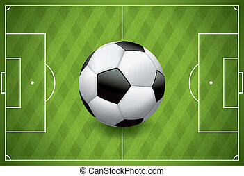 Realistic Football - Soccer Ball on Textured Field - A...