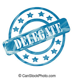 Blue Weathered Delegate Stamp Circles and Stars