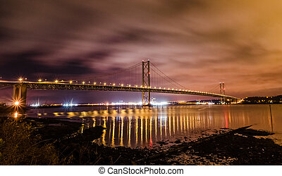Forth Road Bridge - Night photo of Forth Road Bridge at...