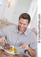Man Eating Healthy meal,mealtime Together