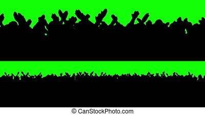 Football fans on green screen. Goal