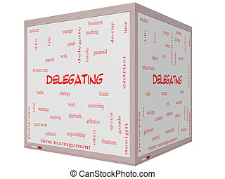 Delegating Word Cloud Concept on a 3D cube Whiteboard with...